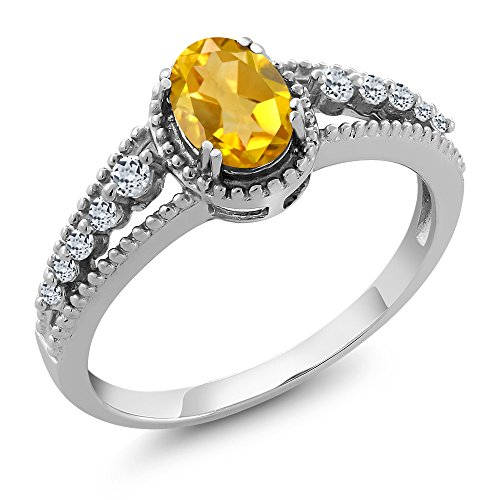 Gem Stone King 925 Sterling Silver Yellow Citrine and White Topaz Women's Ring 0.81 Ctw Oval (Size 7)