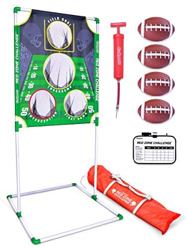 GoSports Red Zone Challenge Football Toss Game, Includes Target, 4 Footballs, Scoreboard and Case