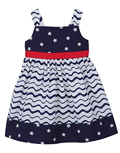 3 Dress Tier - Beebay Star Print Tier Dress Navy (Navy Star Print, 3Y)