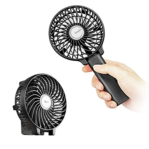 EasyAcc 2600mah Battery Handheld Fan Portable Battery Operated USB Fan Mini Personal Fan Outdoor Electric Fan with Rechargeable LG 2600mAh Battery Adjustable 3 Speeds Foldable Home and Travel -Black by EasyAcc