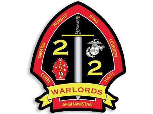 2d Bn 2d Mar WARLORDS Shield Shaped Sticker (logo marines usmc) - Usmc Shield