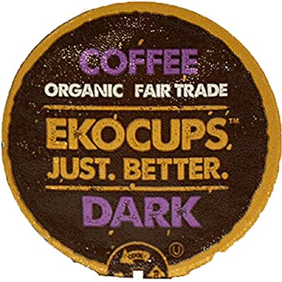 EKOCUPS Artisan Organic Dark Coffee, Dark Roast, in Recyclable Single Serve Cups for Keurig K-cup Brewers, 40 count