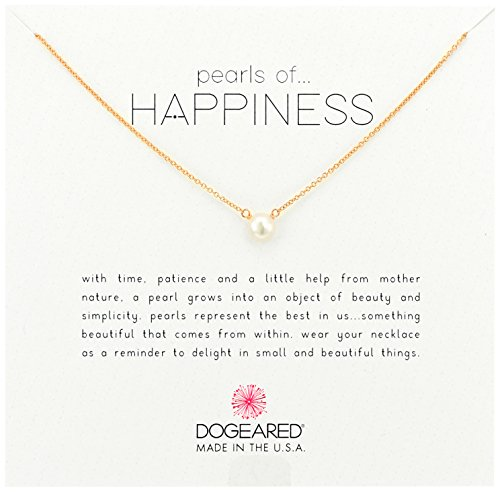 Cultured Pearl Rose Gold Necklace - Dogeared Rose Gold Pearls of Happiness, Small Pearl Chain Necklace, 16