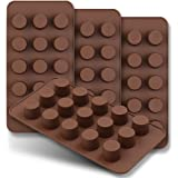 homEdge 15-Cavity Mini Cup Chocolate Mold, Set of 4PCS Non Stick Food Grade Silicone Mold for Candy Keto Fat Bomb, Chocolate,