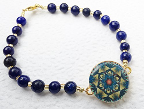 Lapis Markers - Par 4 Collection Ball Marker Ankle Bracelet - Lush Lapis Lazuli with Gold Glass Beads