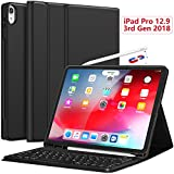 iPad Pro 12.9 Case with Keyboard 2018-3rd Gen [Support Apple Pencil Charging] [with Pencil Holder] Magnetically Detachable Wireless Keyboard for iPad Pro 12.9 2018 (Not for 2017 2015) - Black