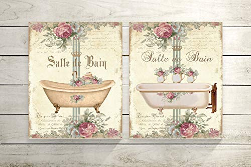 Iliogine Wooden Plaque Sign Set of 2 Floral and Ivory Salle De Bain Wood Prints Farmhouse Wall Decor Housewarming Gift ()
