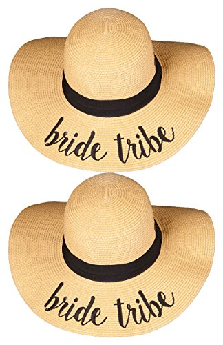 H-2017-BUNDLE-BTx2 Bridal Embroidered Sun Hat 2 Pack - Bride Tribe