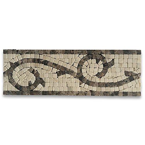 (Vine Emperador 4x12 Marble Mosaic Border Listello Tile Tumbled)