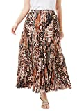 Jessica London Women's Plus Size Cotton Crinkled Maxi Skirt Brown Animal,20