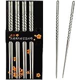 5 pairs Chopstick, SUMERSHA Metal Stainless Steel Spiral Chopsticks by SUMERSHA