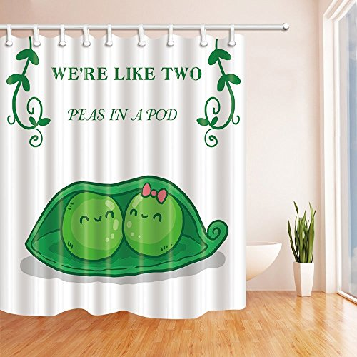 HiSoho We're Like Two Peas in Pod Kids Shower Curtain, Resistant Polyester Fabric Bathroom Decorations, Bath Curtains Hooks Included, 71X71 inches, Green (Were Like Two Peas In A Pod)