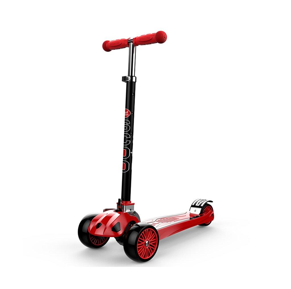 Scooter / Juguetes para Niños/Coche Que Brilla intensamente LED 3 Ruedas/Plegable/Que eleva/Cuatro Ruedas Ajustables/de Gran Tamaño (Color : Red)