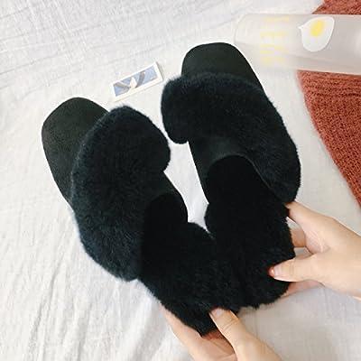 Zapatillas fankou femenina moda invierno, use zapatos planos cuadrados, mitad antideslizante zapatillas ,37, negro