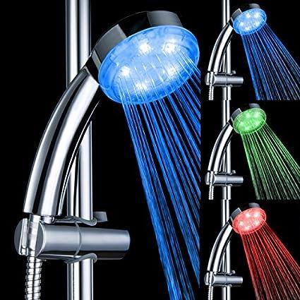 Soffione Per Doccia Led.Soffione Doccia Doccetta Manuale Led Luce Temperatura Controllata Con 3 Colori Cangianti Per Bagno