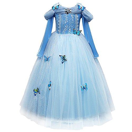 FYMNSI Costume da Cenerentola per Bambina Cinderella Cosplay Ragazze Abito Blu Manica Lunga per Feste a Tema Fantasia Vestito Favola da Principessa