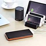 EasyAcc Monster 20000mAh Power Bank (4A Dual-Input Fastest Charge 4.8A Smart Output) External Battery Pack Charger Portable Charger for Android iPhone Samsung HTC - Black and Orange