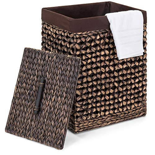 Best Choice Products Home Portable Decorative Woven Water Hyacinth Wicker Laundry Clothes Hamper Basket for Bedroom, Bathroom, Laundry Room w/Removable Liner Bag, Lid - Espresso