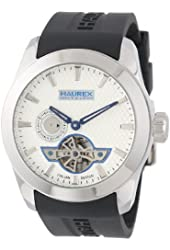 Haurex Italy Men's CA501USN Magister Auto Round Stainless Steel Black Silicone Automatic Watch