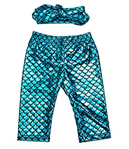 [JJMG New Kids Mermaid Costume Fish Scale Print Stretchy Legging Pants with Headband for Baby Girls Toddlers (3-6] (Cool Halloween Costumes For Three Girls)