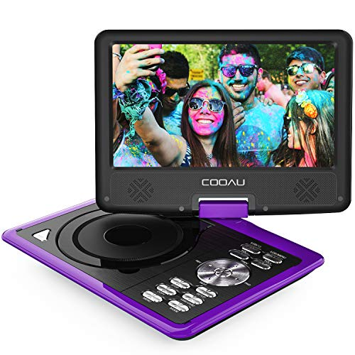 "COOAU Portable DVD Player 11.5"" with Game Joystick, Swivel HD Screen, Support Multi-Format, Region Free, Long Lasting Battery, Support AV-in/AV-Out/SD/USB, Purple"