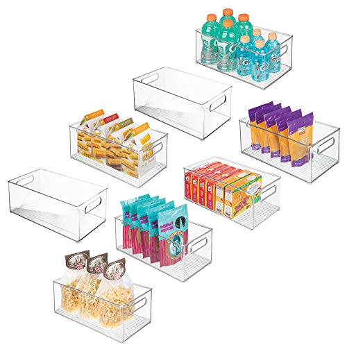 mDesign Stackable Kitchen Storage Organizer Plastic Bins Boxes Containers Holders with Handles, for Pantries, Cabinets, Shelves, Refrigerator, Freezer Fridge Food – 14.6″ x 8.1″ x 6″, Pack of 8, Clear
