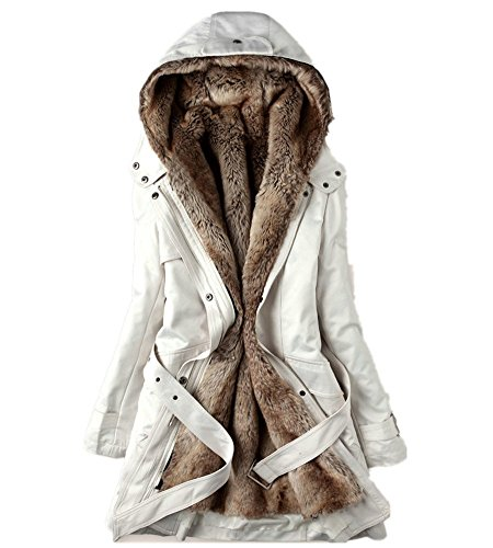 Hooded Mid Length Coat (Women's Winter Thicken Mid-length Lamb Wool Hooded Cotton Coats Jackets (XL, Off-white))