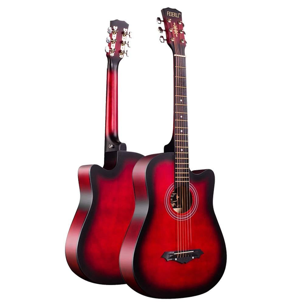 Miiliedy Minimalismo Basswood Guitarra acústica Estudiantes principiantes Práctica Adultos Adolescentes Hombres Mujeres Práctica Guitarra de madera con ...