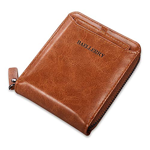 Vintage Leather Bifold Zip-around Wallet for Men Separate Card Holder 2 ID Window Zipper Coin Pocket Wallet