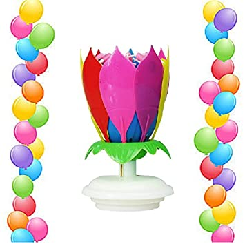 1 RAINBOW Birthday Candle 14 Little Candles Plays Music Spins And