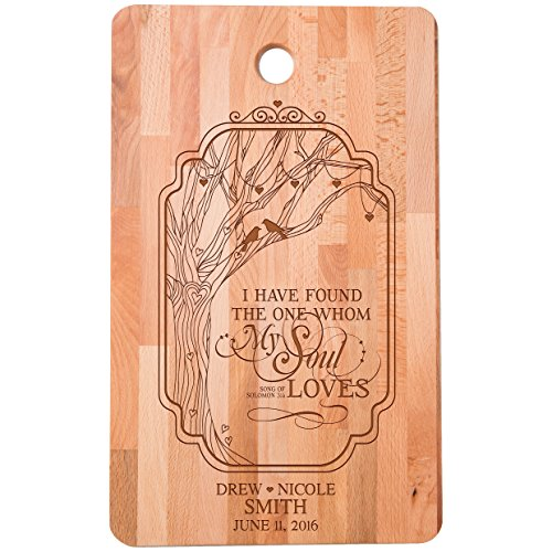Personalized bamboo Cutting Board reads I have found the One whom my Soul Loves for bride and groom Wedding Anniversary Gift Ideas for Him, Her, Couples Established Dates to Remember 11