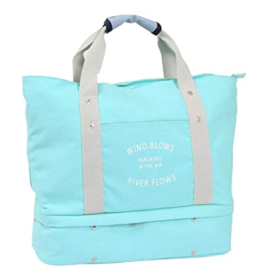 f5625b982d06 Tuankay Portable Women Canvas Travel Bag Foldable Storage Luggage ...