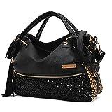 Women Leopard Print Sequin Paillette Bag Handbag Tote PU Leather Shoulder Messenger Bag