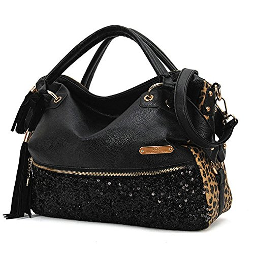 Women Leopard Print Sequin Paillette Bag Handbag Tote PU Leather Shoulder Messenger Bag by TO_GeT For Fashion TgT