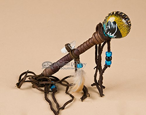 Hand Painted Navajo Rawhide Rattle 7'' -Black Buffalo by Mission Del Rey
