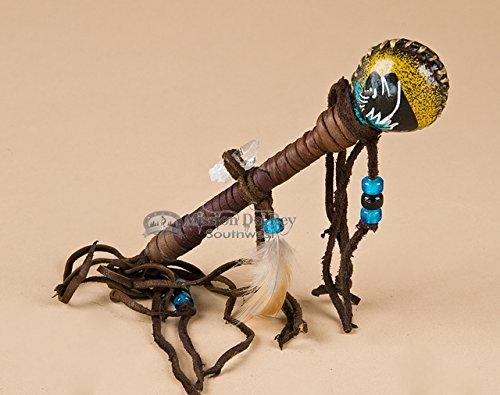 Hand Painted Navajo Rawhide Rattle 7'' -Black Buffalo