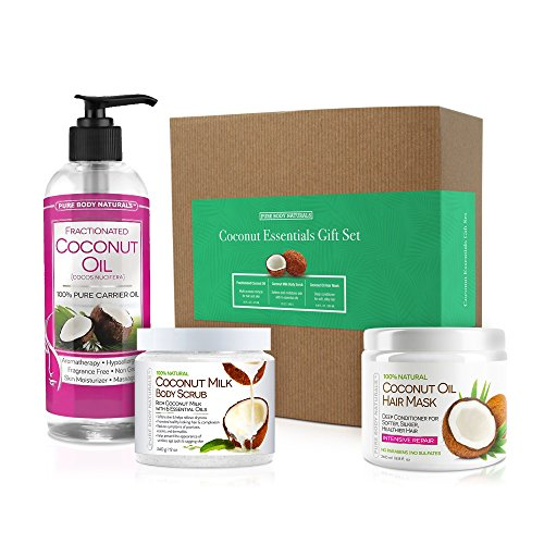 Coconut Spa Gift Set for Bath & Body, Moisturizing Hair Mask, Body Scrub & Hydrating Coconut Oil - Pure Body Naturals ()