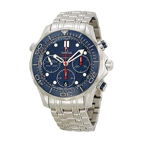 - Omega Seamaster Diver Chronograph Blue Dial Steel Mens Watch 21230425003001
