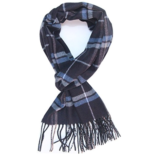 Saferin Men Winter Plaid Soft Elegant Cashmere Feel Wrap Scarf Grey Plaid (17-4 Navy Blue Plaid) (Blue Plaid Scarf)