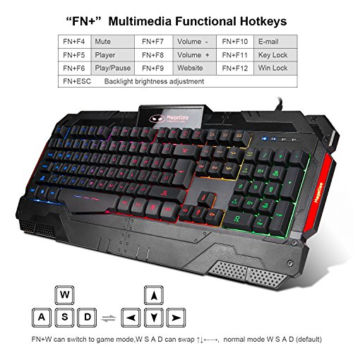 magegee wired usb gaming keyboard mouse set pc mac gamer black cheapsia. Black Bedroom Furniture Sets. Home Design Ideas