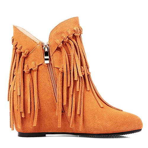 Party With Boots Ankle Brown Leather Handmade Women's Tassels Toe Seven Suede Classy Nine Heel Cute Round Mid Ow6PSgq7