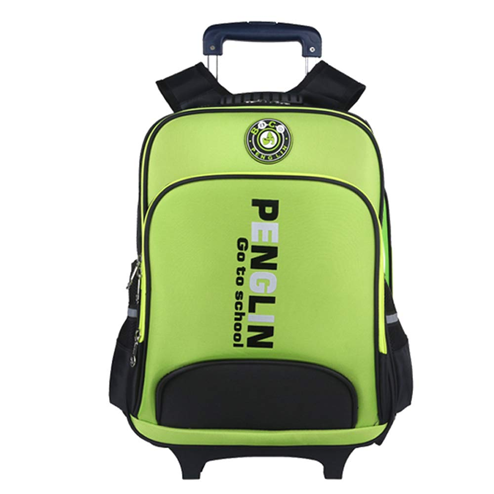 c47773fe39 DAZISEN Due Ruote Zaino Trolley Scuola Scuola Scuola Borsa - Impermeabile  Leva Borsa Zaino Estraibile per Bambini Ragazza, verde d42343