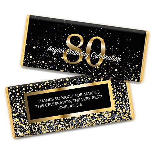 Milestone 80th Birthday Favors Personalized Chocolate Bar Wrappers (25 Count) ()
