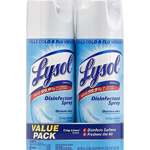 Lysol Disinfectant Spray, Crisp Linen Scent, Twin Pack, 2 x 12.5 oz (Pack of (Reckitt Germicidal Cleaner)
