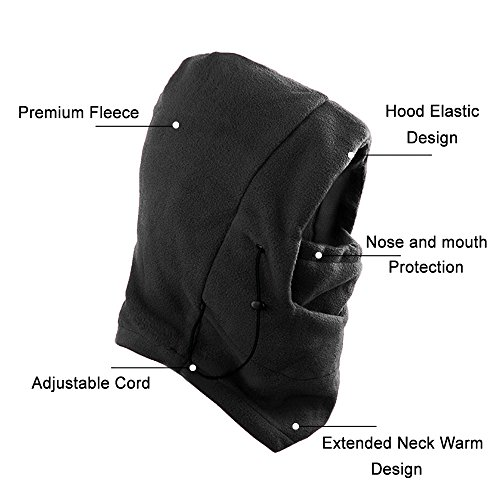 Fleece Balaclava Hood Face Mask, AYAMAYA Full Face Cover Neck Warmer Winter Scarf Hat Mask for Skiing Snowboard Cycling, Black