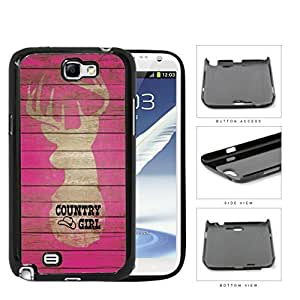 Country Girl on Pink Wood Pattern with Deer Samsung Galaxy Note II 2 N7100 Hard Snap on Plastic Cell Phone Cover