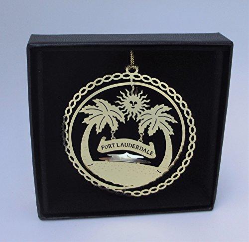 Fort Lauderdale Brass Ornament Black Leatherette Gift - Fort Lauderdale Shop Gift