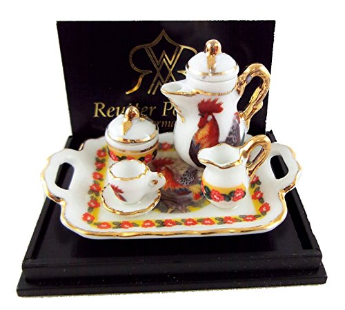 Melody Jane Dolls Houses House Miniature Accessory Cockerel Coffee Set On Tray
