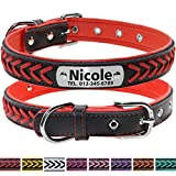 Vcalabashor Custom Leather Collar,Personalized Engraved Dog Collar with Stainless Steel On Collar Nameplate,Red