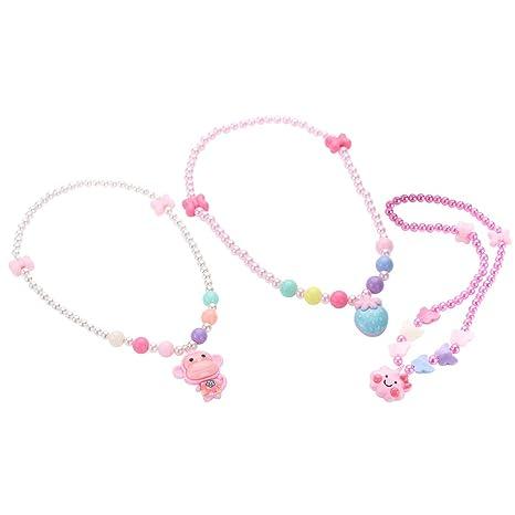 521112544f84 Yeahibaby Collar de Perlas para niñas - Colgante de Dibujos Animados Rosa  Collar de Perlas de